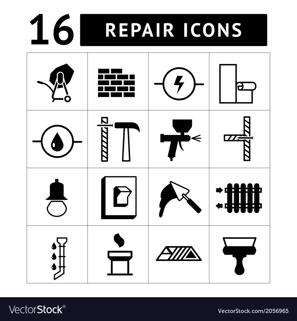 Set icons of construction buildinghouse repair vector | Price: 1 Credit (USD $1)