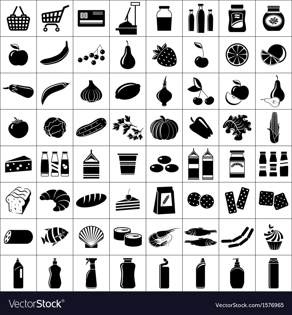 Set of supermarket symbols vector   Price: 1 Credit (USD $1)