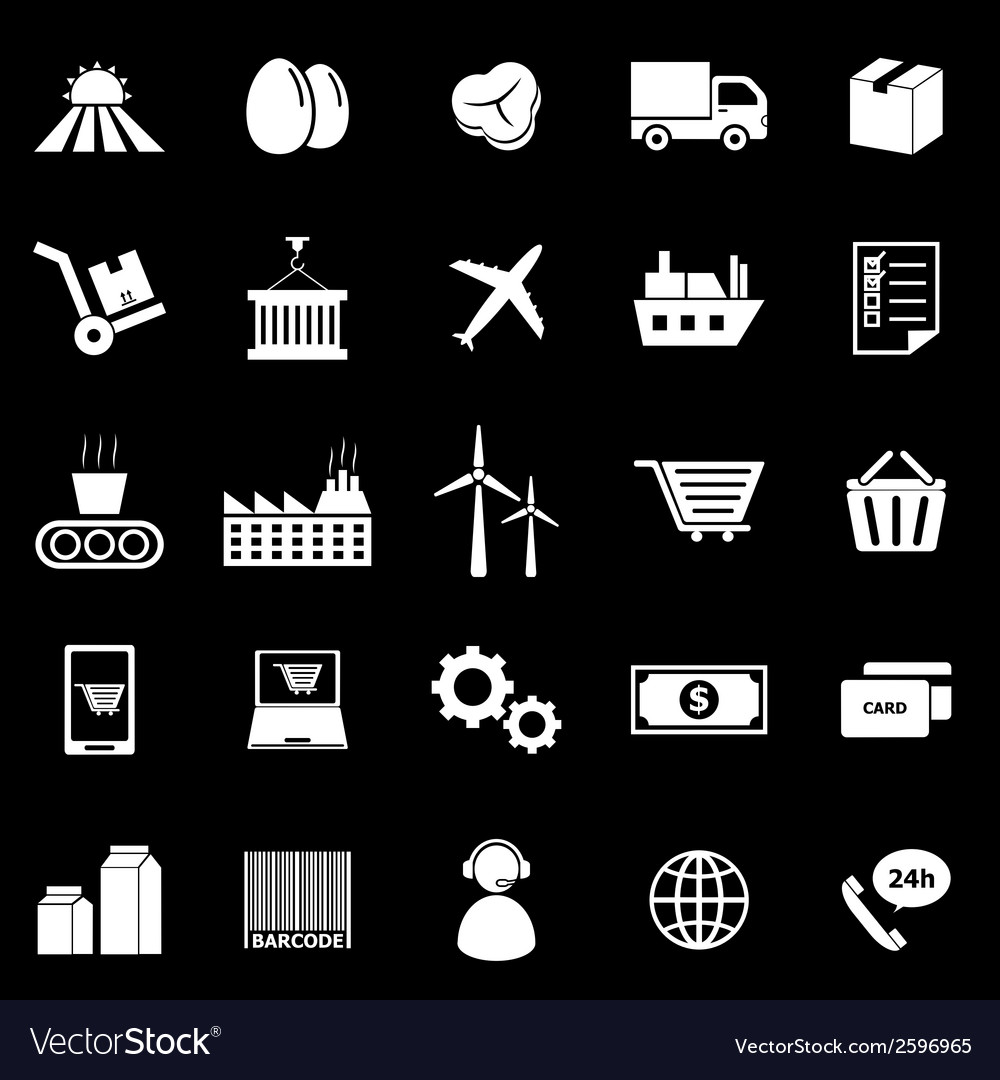 Supply chain icons on black background vector | Price: 1 Credit (USD $1)