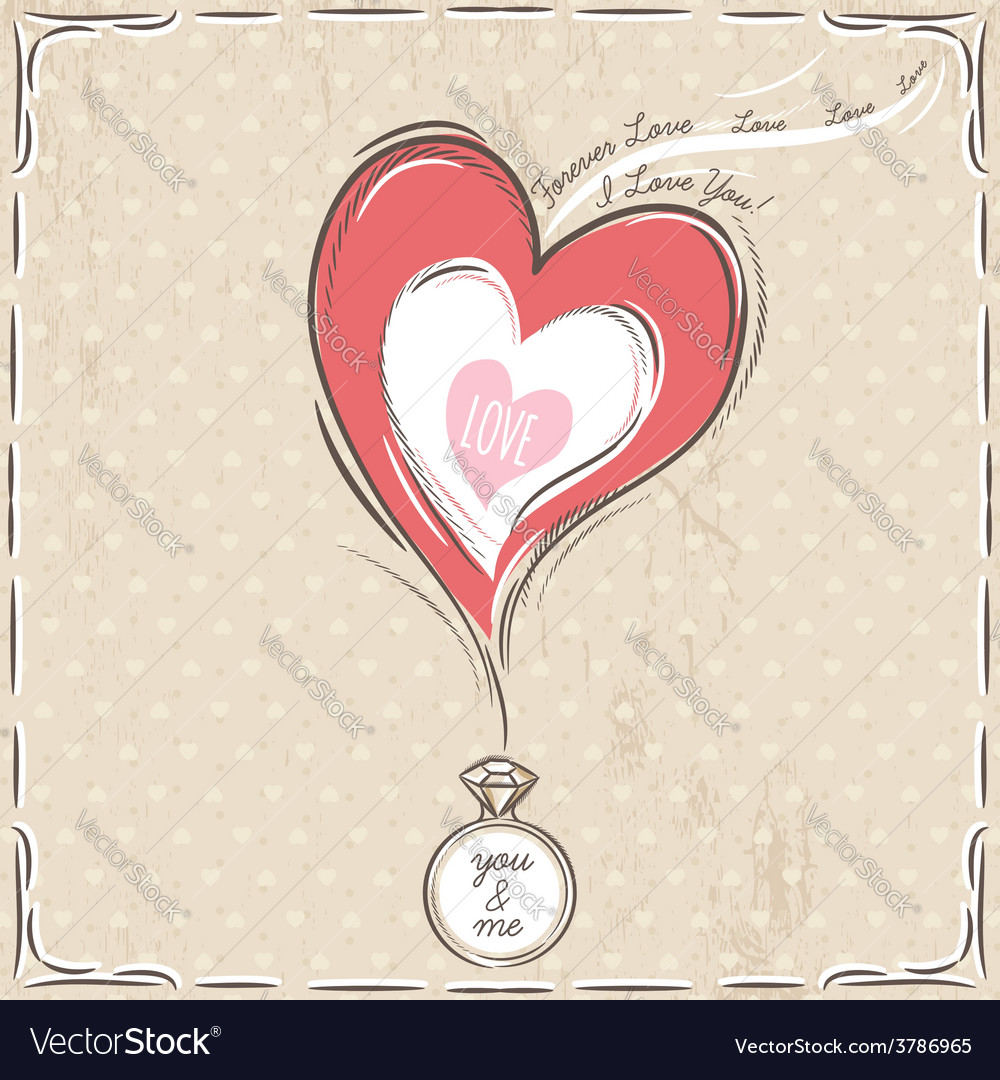 Valentine card with heart and engagement ring vector | Price: 1 Credit (USD $1)