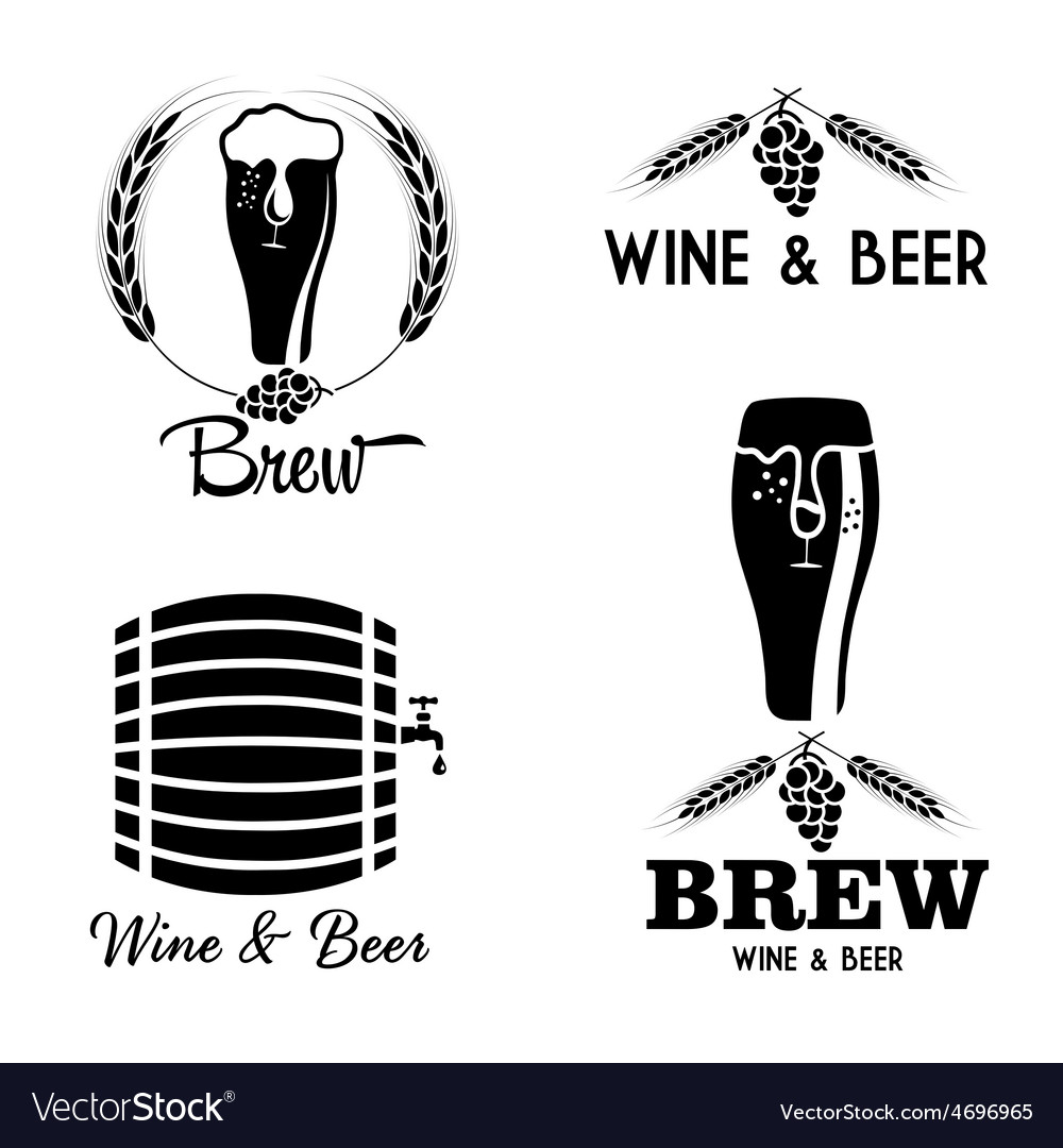 Wine and beer vintage labels set vector | Price: 1 Credit (USD $1)