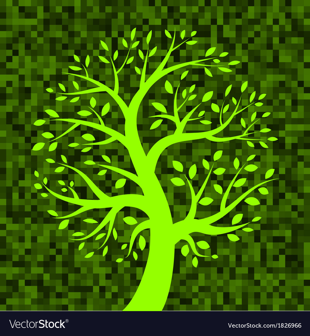 Green tree icon on green pixel background vector | Price: 1 Credit (USD $1)