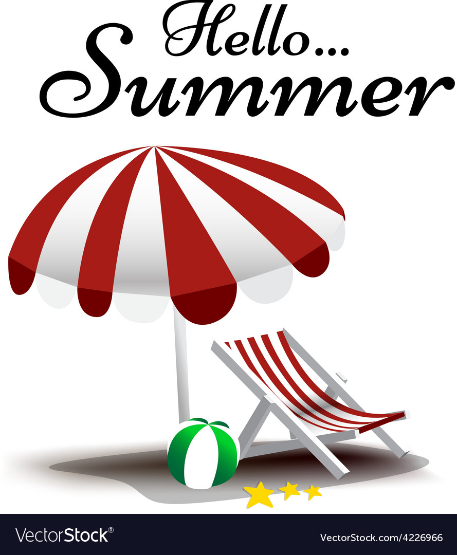 Hello summer text with beach chair and umbrella vector | Price: 1 Credit (USD $1)