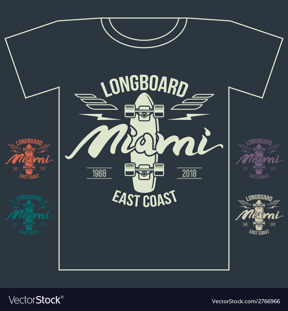 Longboard emblem retro print vector | Price: 1 Credit (USD $1)