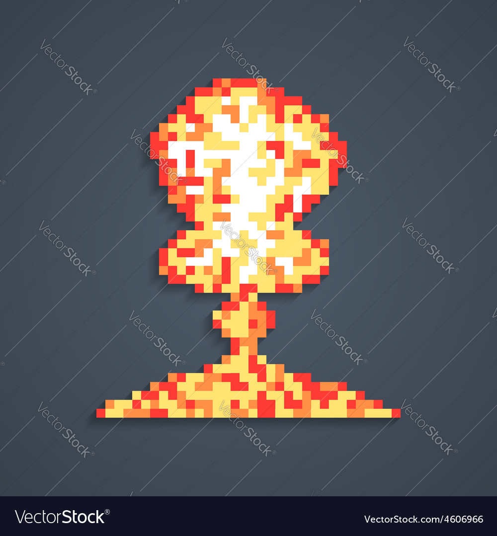 Pixel art atomic explosion with shadow vector
