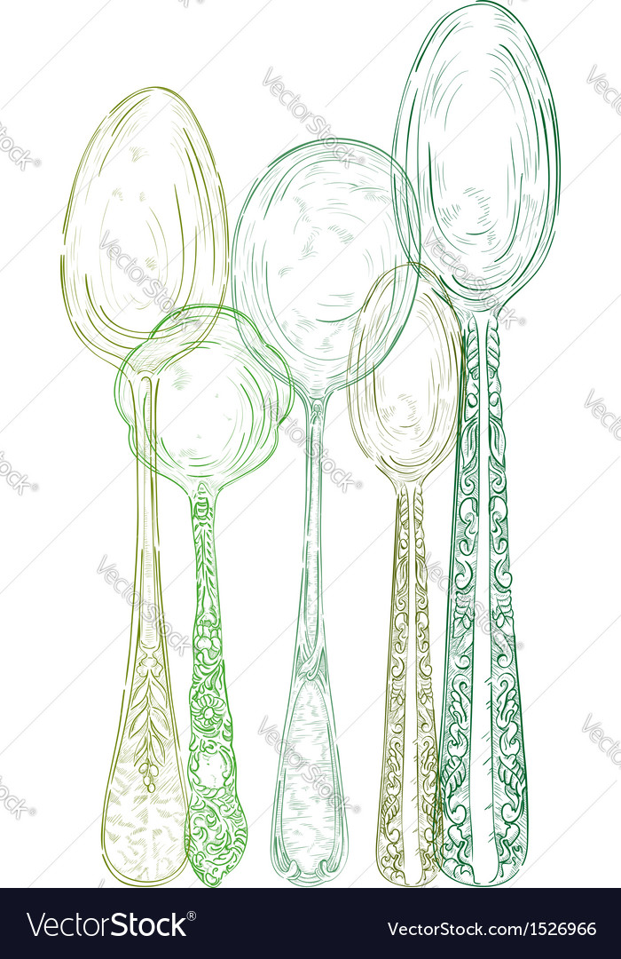 Vintage cutlery elements hand drawn set vector | Price: 1 Credit (USD $1)