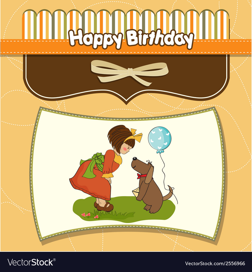 Young girl and her dog in a wonderful birthday vector | Price: 1 Credit (USD $1)