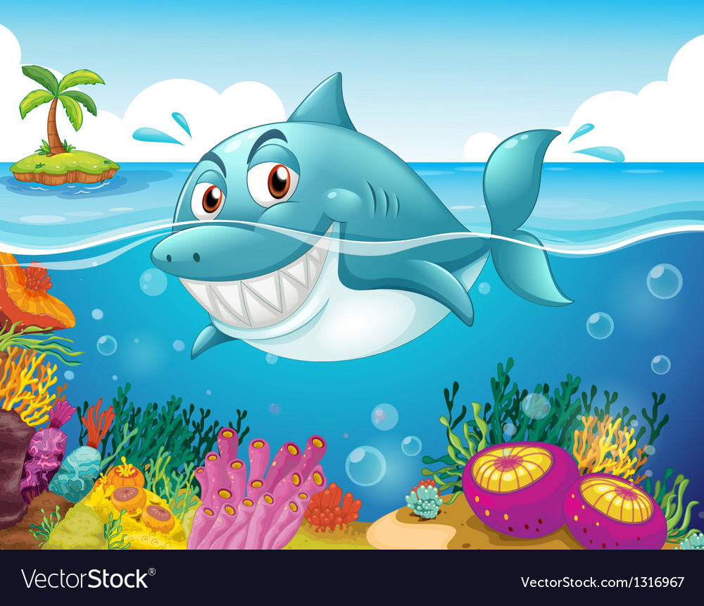 A shark in the sea with corals vector | Price: 1 Credit (USD $1)