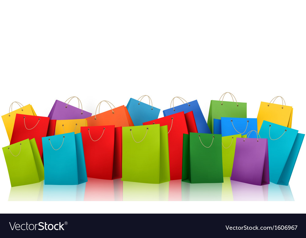 Background with colorful shopping bags discount vector | Price: 1 Credit (USD $1)