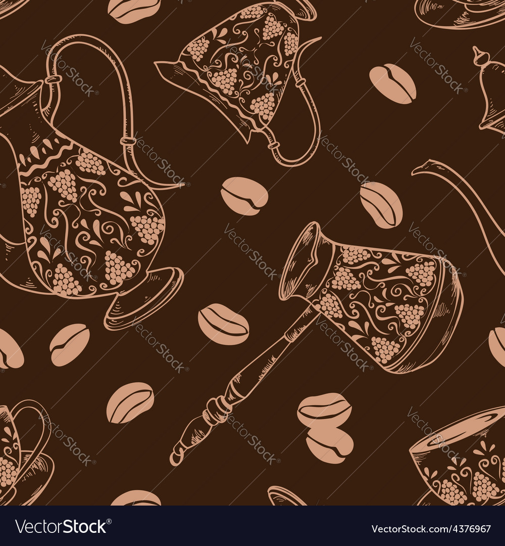 Brown coffee seamless pattern vector | Price: 1 Credit (USD $1)