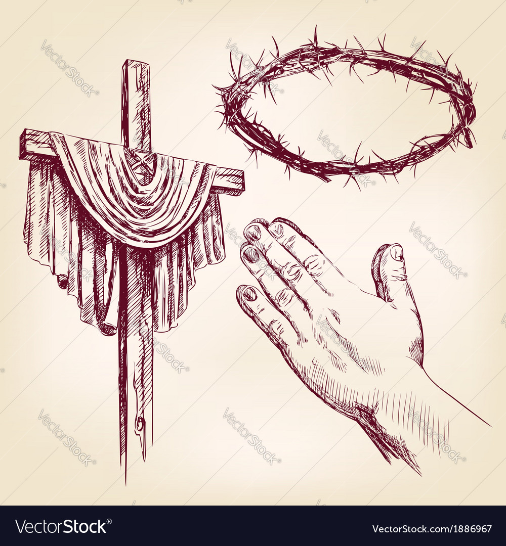 Christianity collection isolated hand drawn vector | Price: 1 Credit (USD $1)