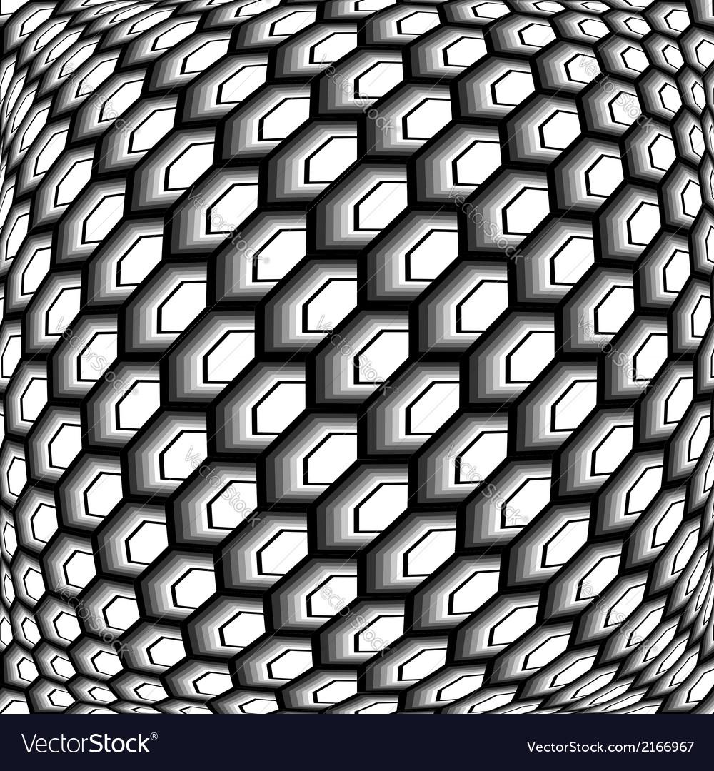 Design monochrome warped grid hexagon pattern vector | Price: 1 Credit (USD $1)