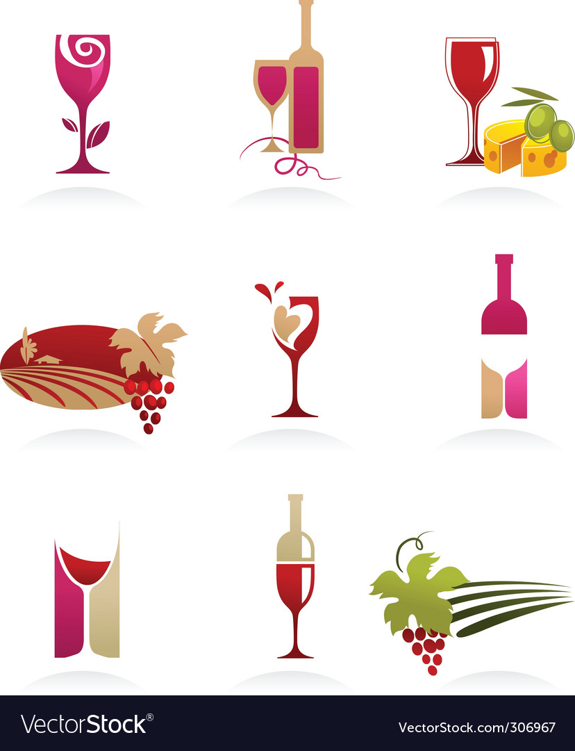Food and wine icons vector | Price: 1 Credit (USD $1)