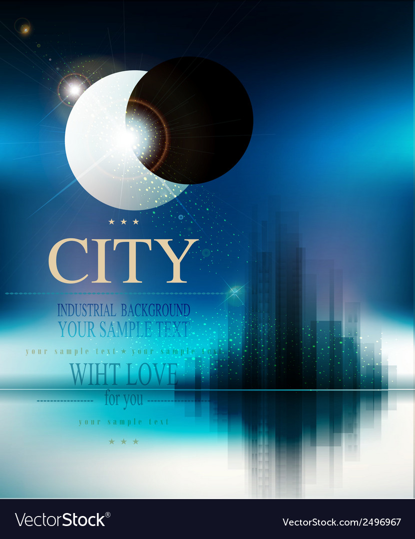 Futuristic background with city and eclipse vector | Price: 1 Credit (USD $1)