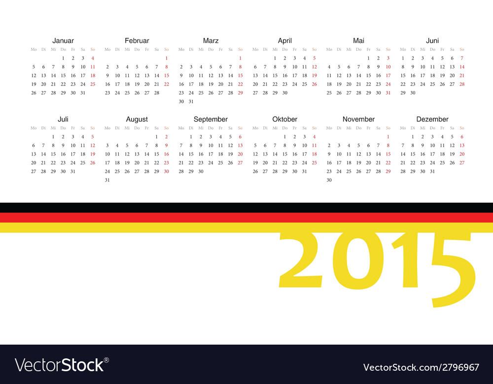 German 2015 year calendar vector | Price: 1 Credit (USD $1)