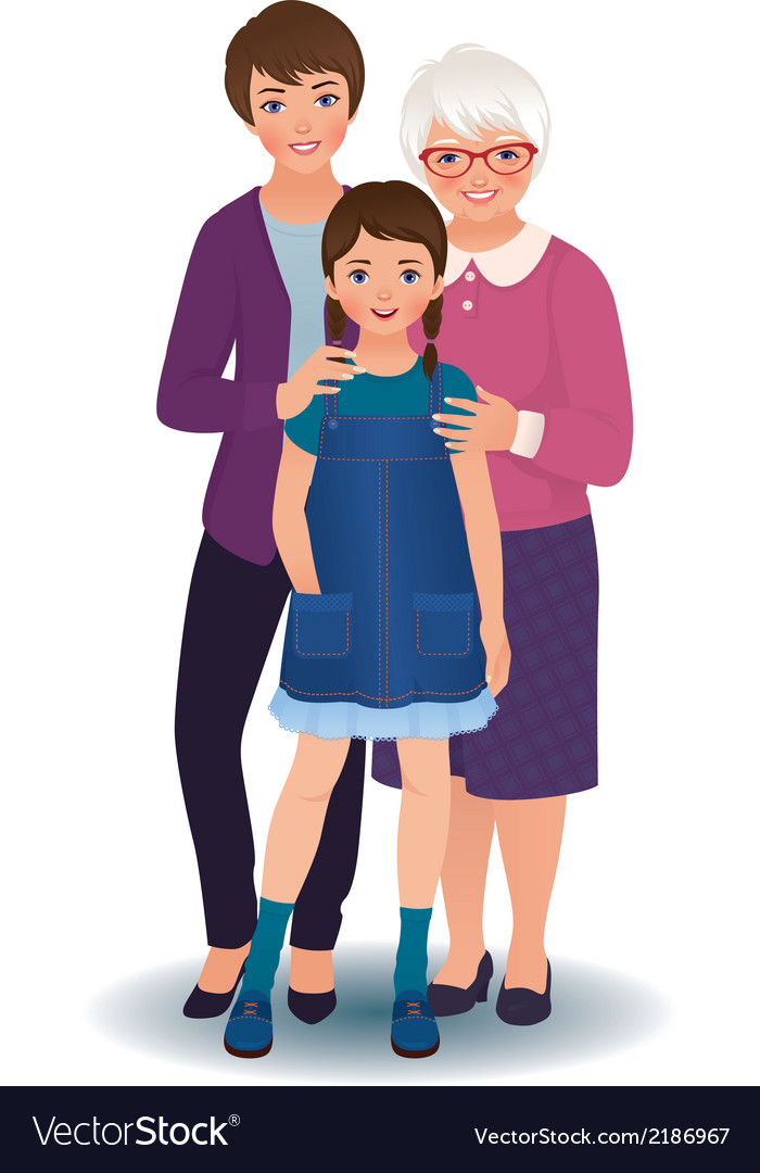 Grandmother with daughter and granddaughter vector | Price: 1 Credit (USD $1)