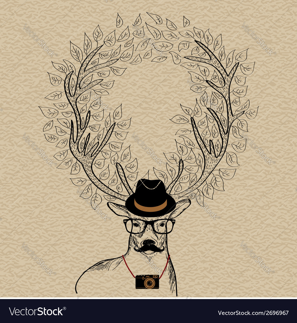 Hipster reindeer greeting card vector | Price: 1 Credit (USD $1)