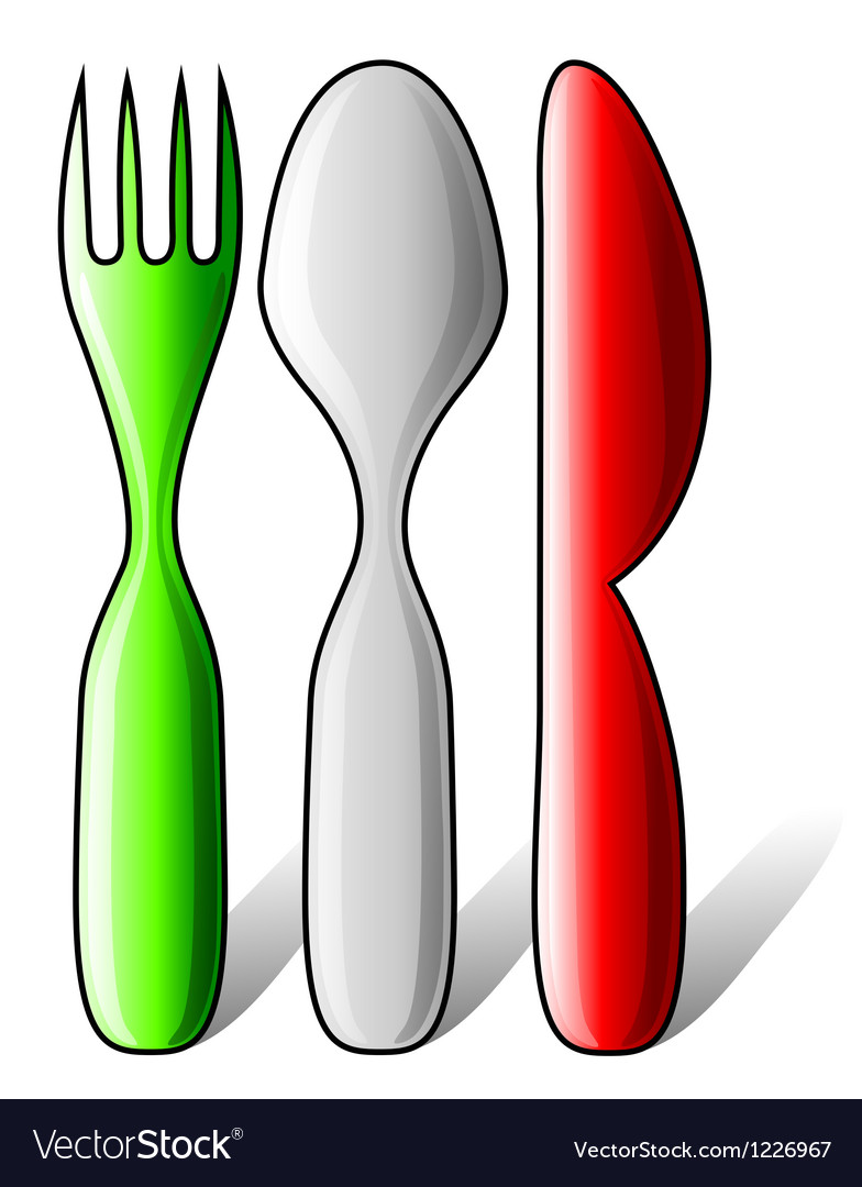 Italian flag made of cutlery vector