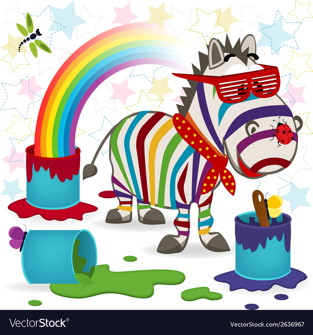Rainbow zebra vector | Price: 3 Credit (USD $3)