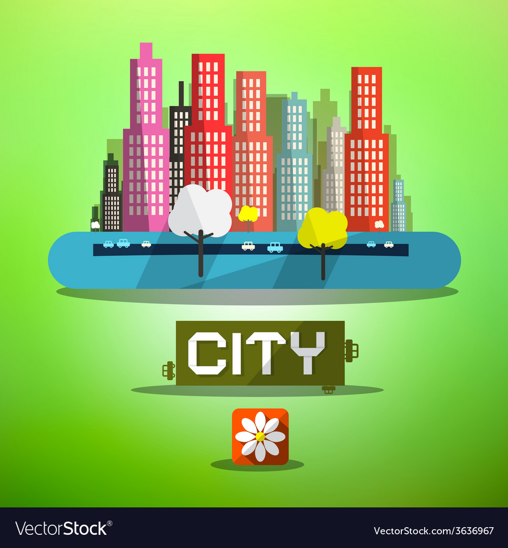 Spring city vector | Price: 1 Credit (USD $1)