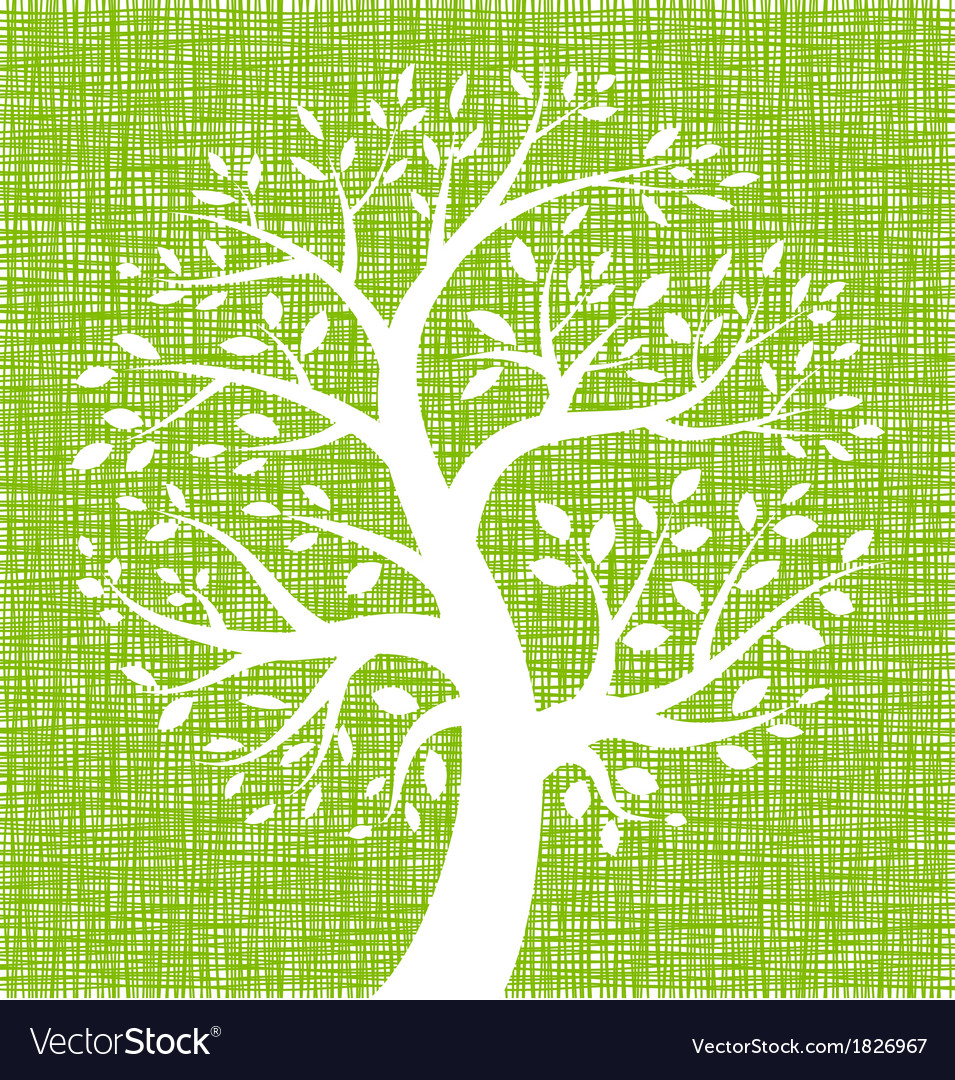 White tree icon on green canvas texture vector | Price: 1 Credit (USD $1)