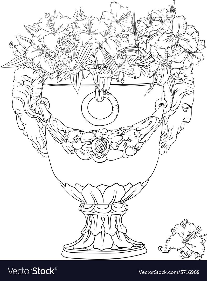 Antique flowerpot vector | Price: 1 Credit (USD $1)
