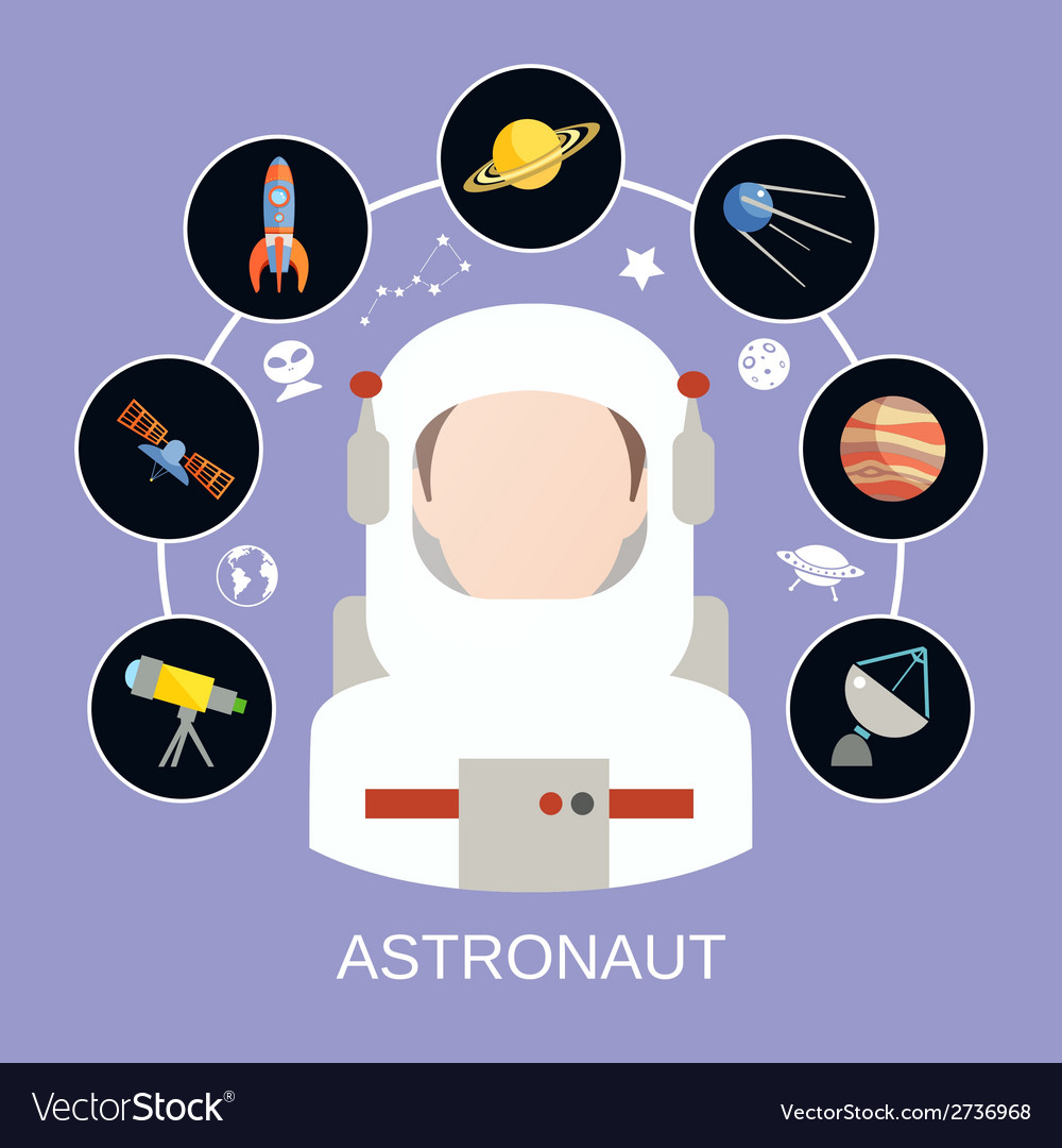 Astronaut and space icons vector | Price: 1 Credit (USD $1)