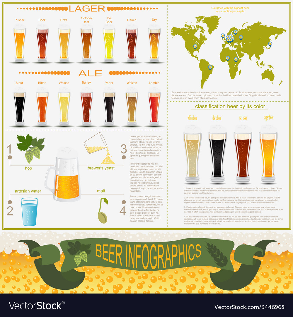 Beer infographics set elements for creating your vector | Price: 1 Credit (USD $1)