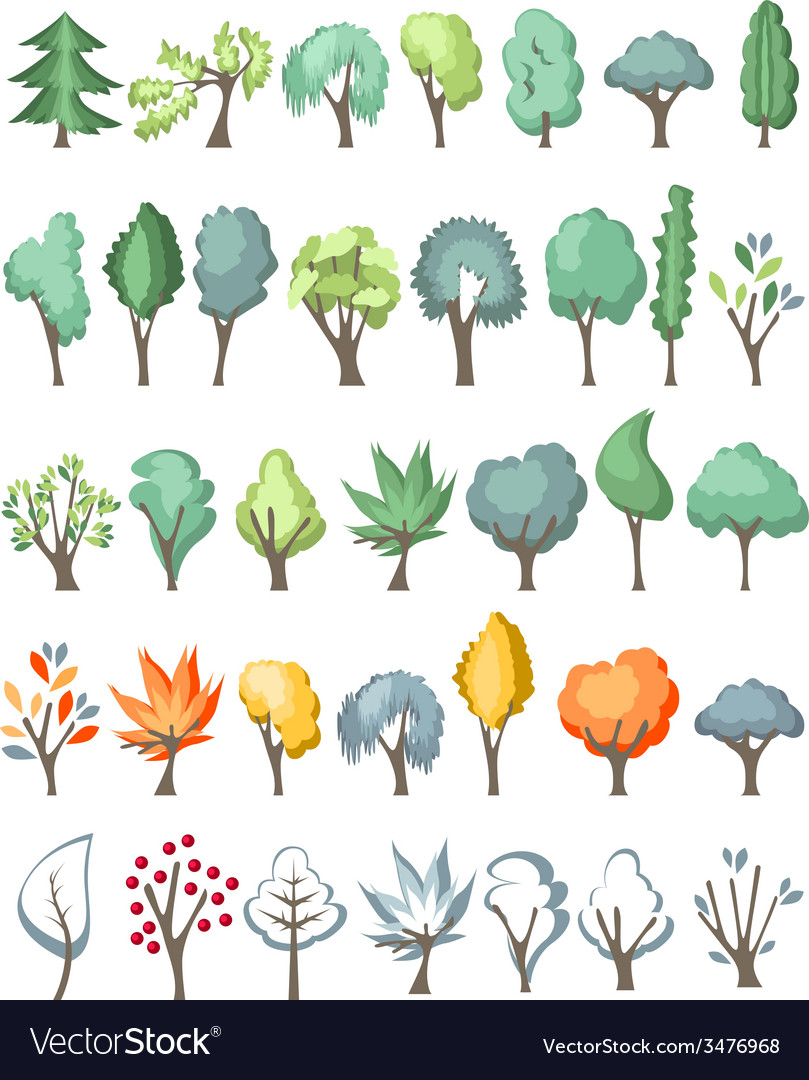 Big set with different trees on white vector | Price: 1 Credit (USD $1)
