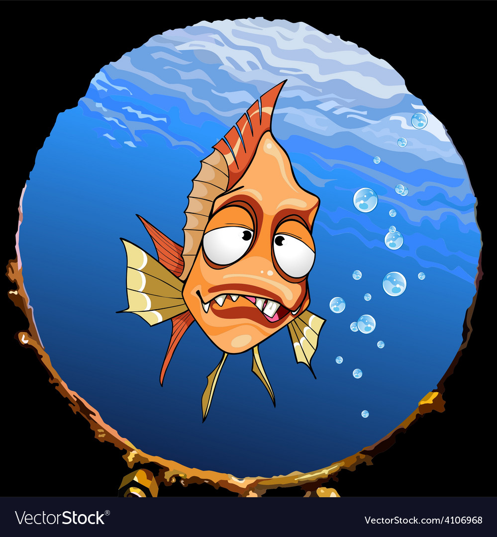 Cartoon funny toothy fish under the water looking vector