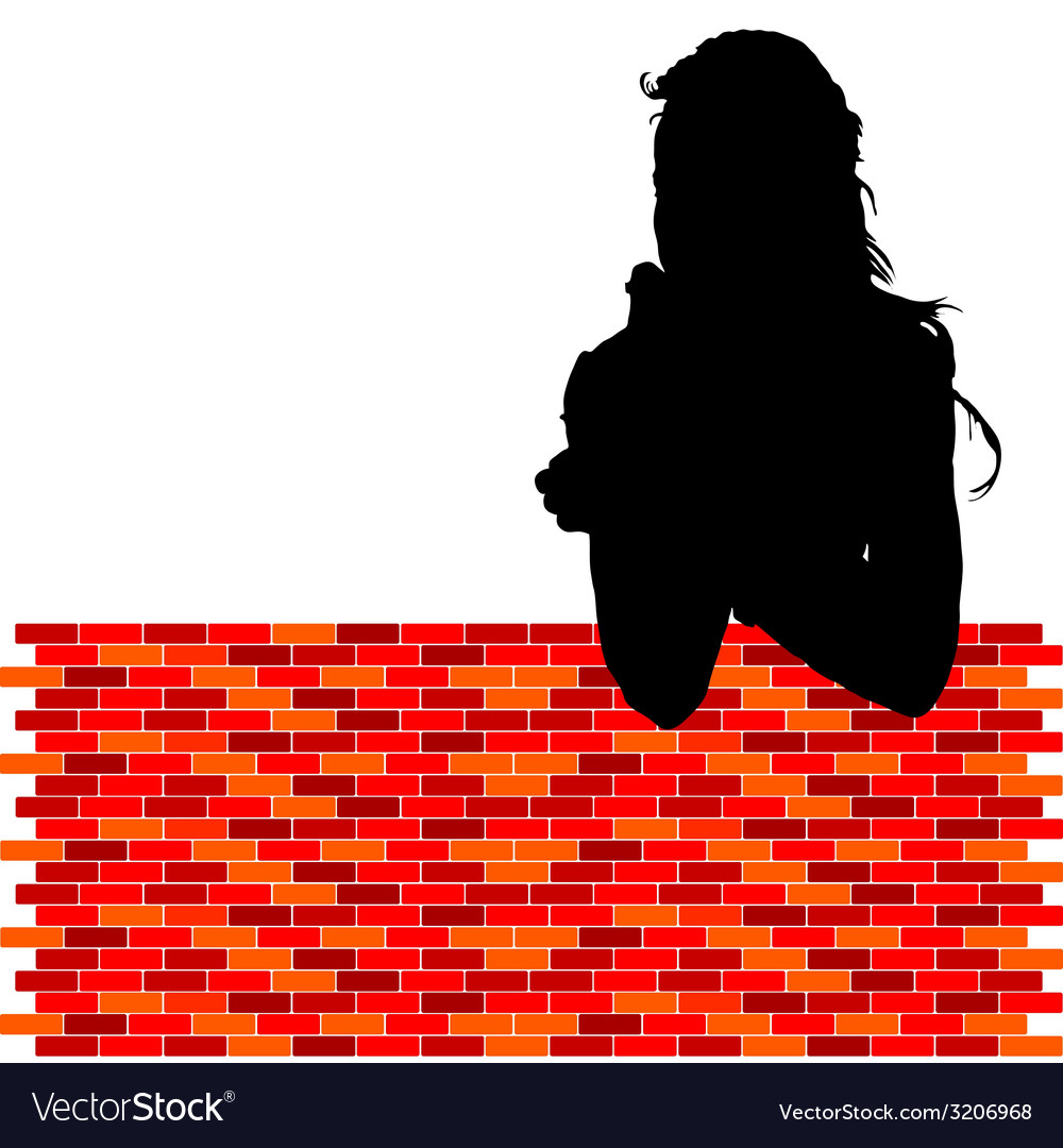 Girl leaning against the wall vector | Price: 1 Credit (USD $1)