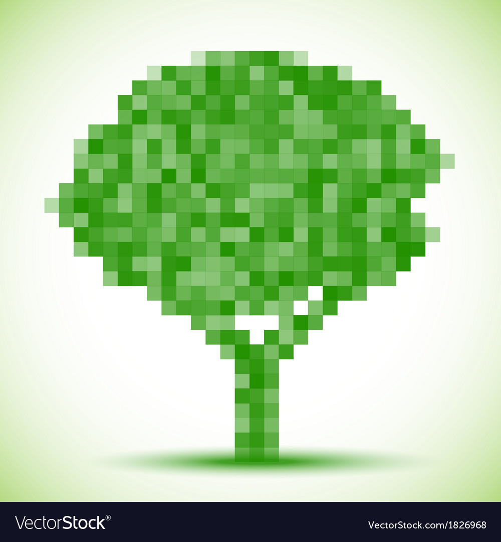 Green pixel tree vector | Price: 1 Credit (USD $1)