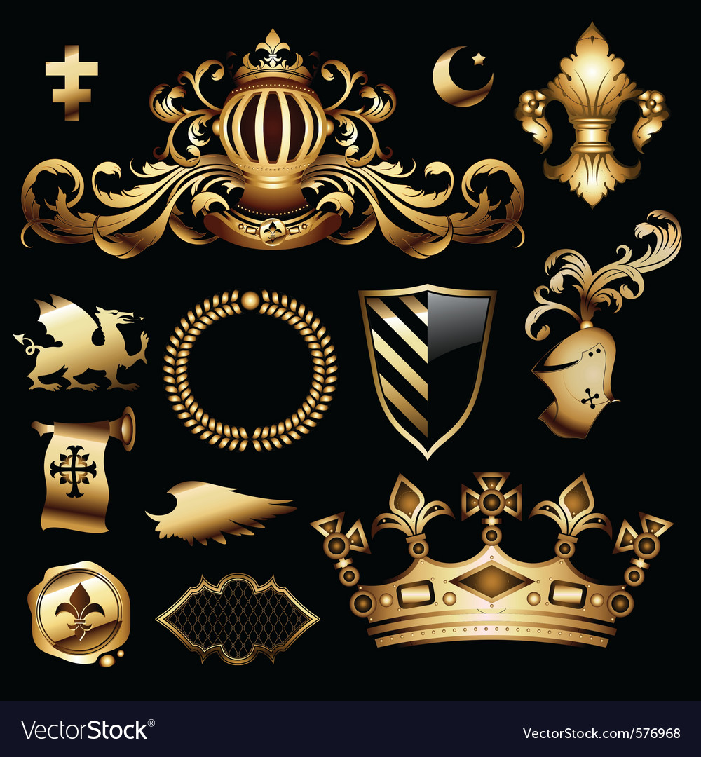 Heraldic royal set vector | Price: 3 Credit (USD $3)