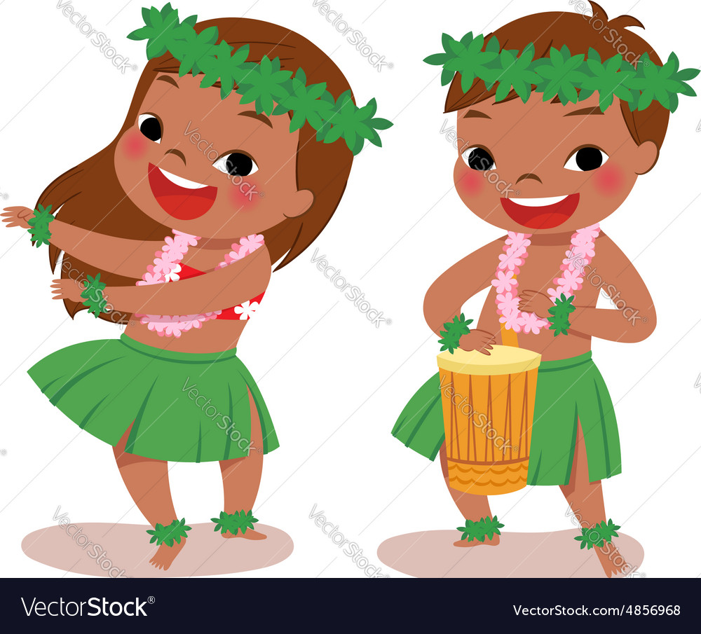Little hula dancers vector