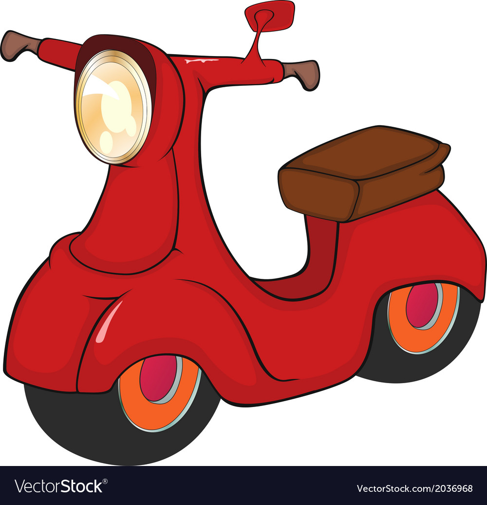 Red motor scooter cartoon vector | Price: 1 Credit (USD $1)