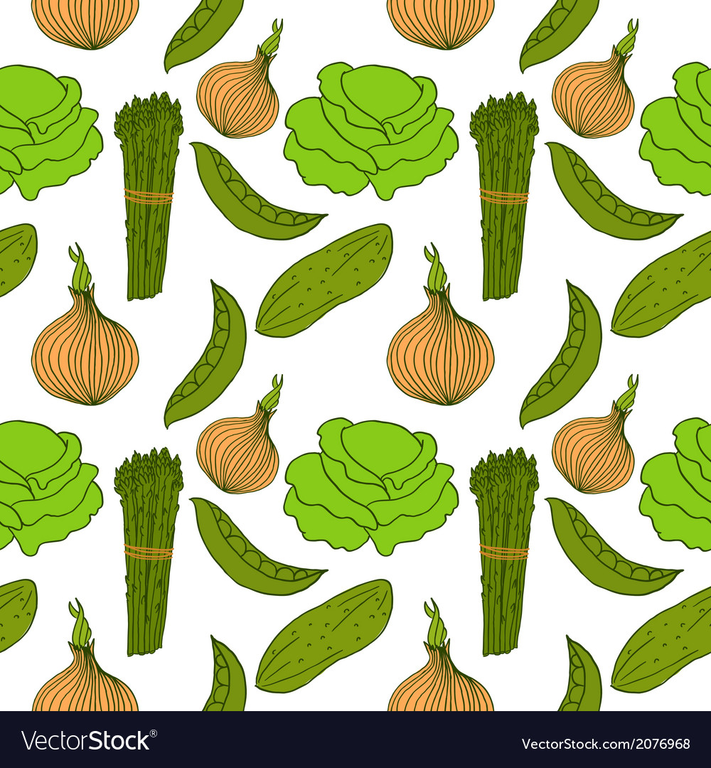 Seamless background with different vegetables vector | Price: 1 Credit (USD $1)