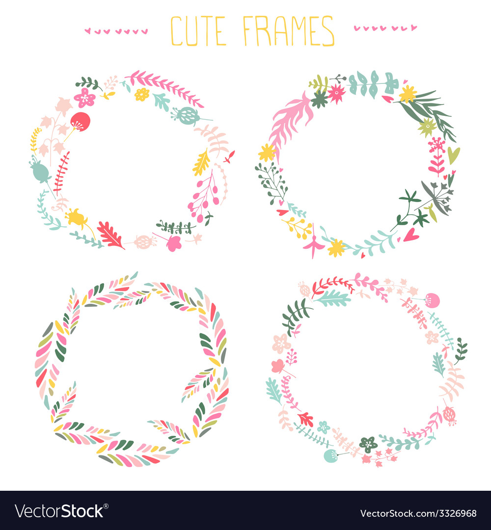 Set of floral frames vector | Price: 1 Credit (USD $1)