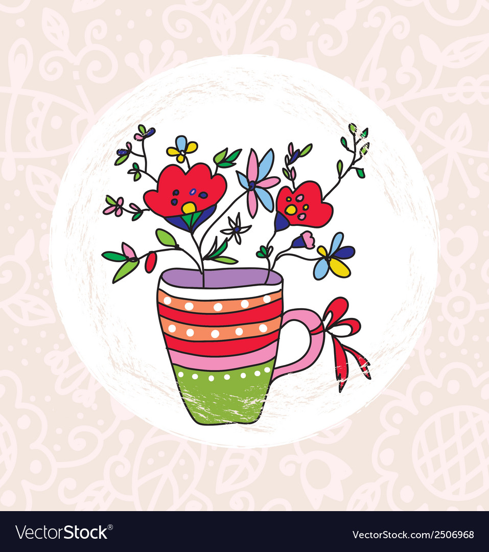 Vase and flowers greeting card vector | Price: 1 Credit (USD $1)