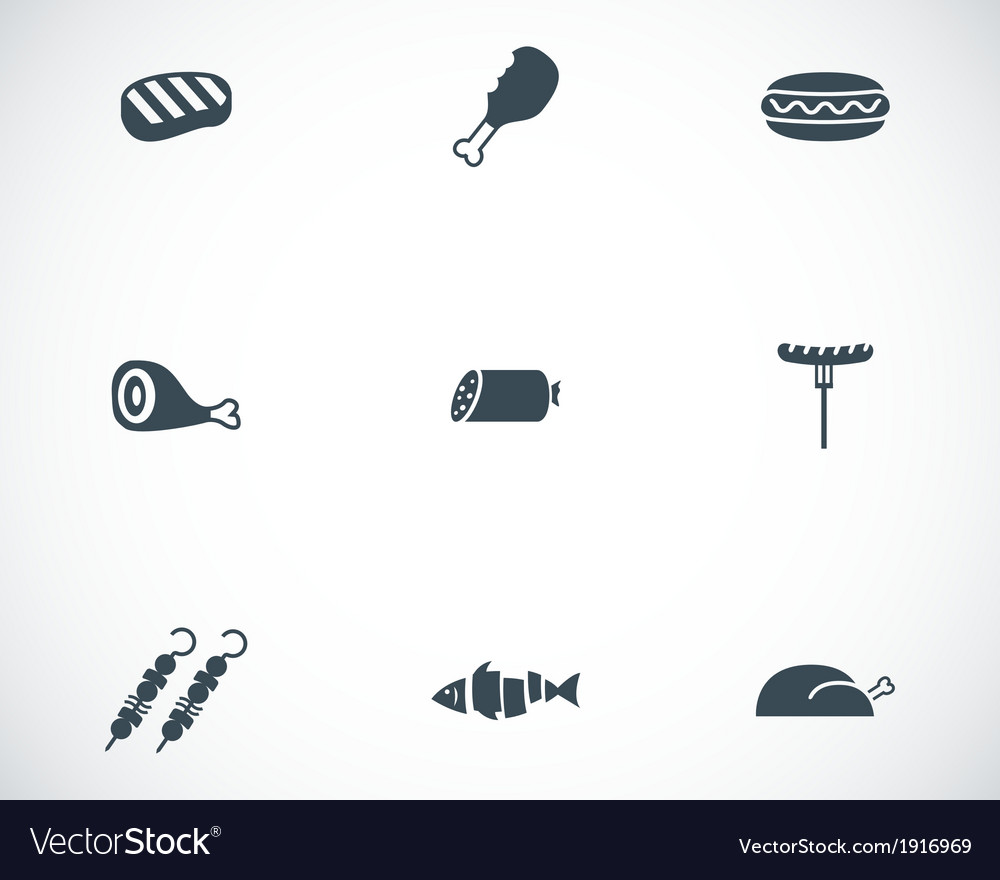 Black meat icons set vector | Price: 1 Credit (USD $1)