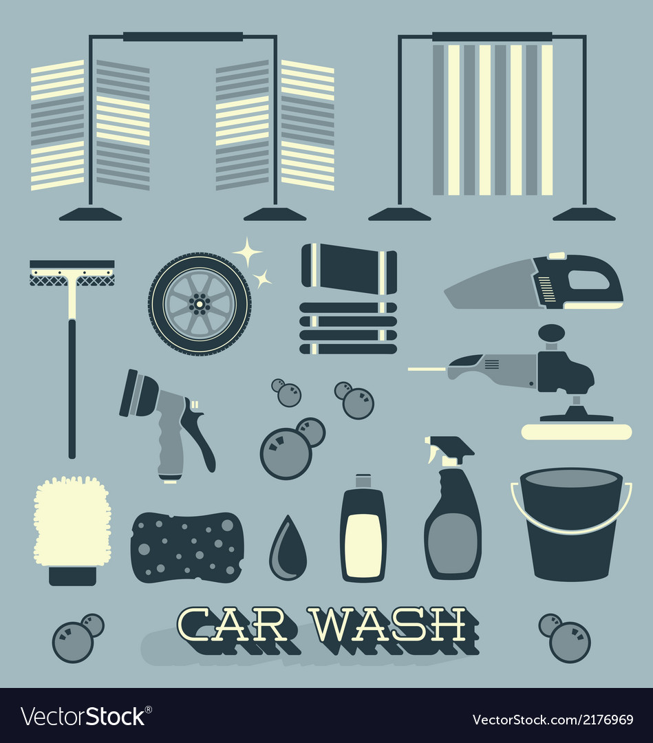 Car wash icons and silhouettes vector | Price: 1 Credit (USD $1)