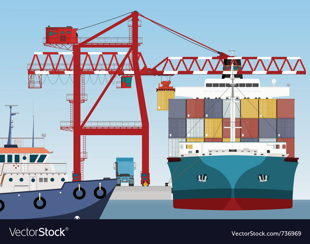 Container ship in port vector | Price: 3 Credit (USD $3)