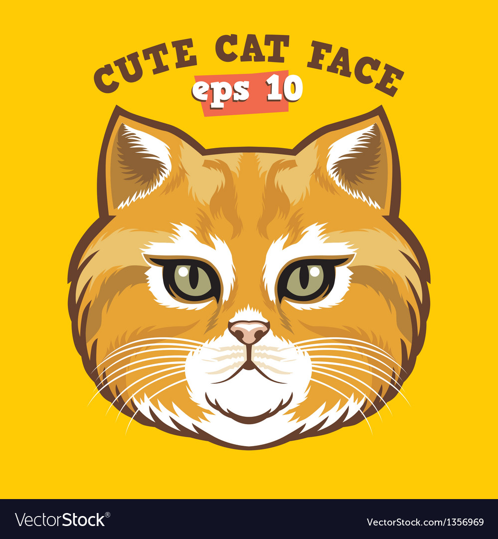 Cute cat head vector | Price: 1 Credit (USD $1)