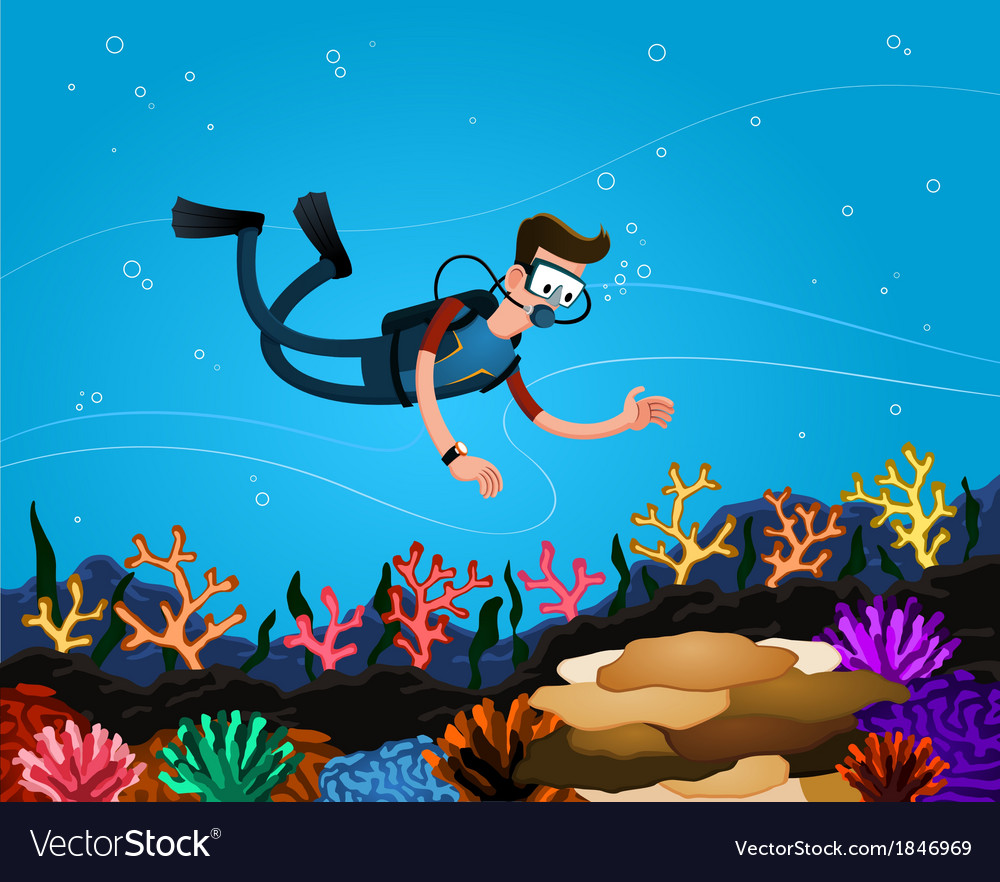 Enjoying coral reef vector | Price: 3 Credit (USD $3)