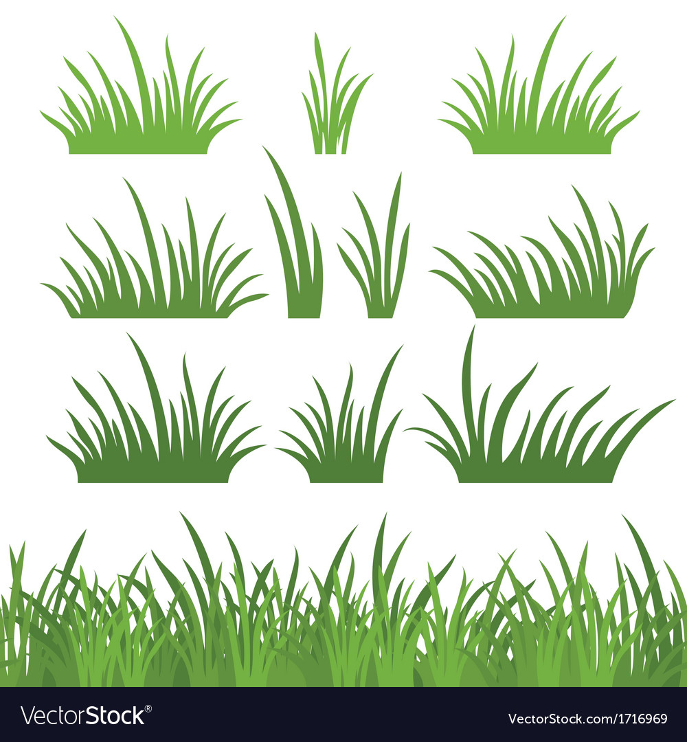 Green grass seamless and set vector | Price: 1 Credit (USD $1)