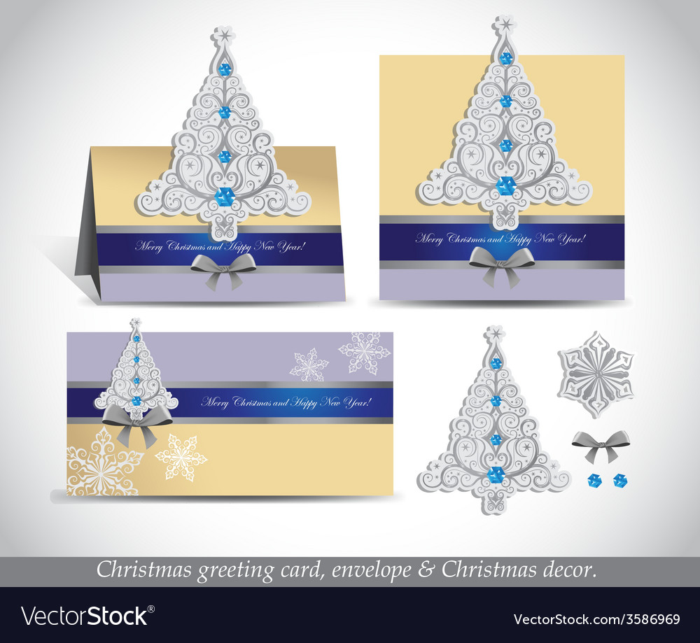Greeting cards with silver ornate christmas tree vector | Price: 1 Credit (USD $1)