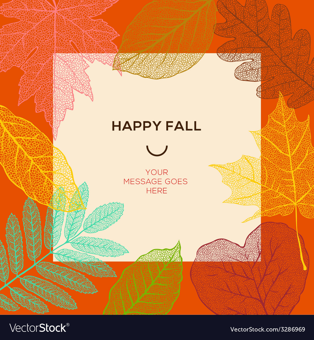 Happy fall template with autumn leaves and simple vector | Price: 1 Credit (USD $1)