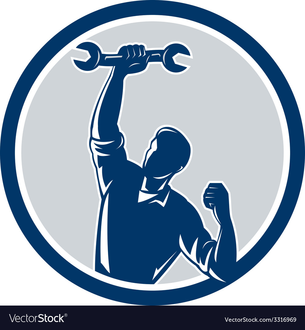 Mechanic spanner wrench fist pump circle vector | Price: 1 Credit (USD $1)