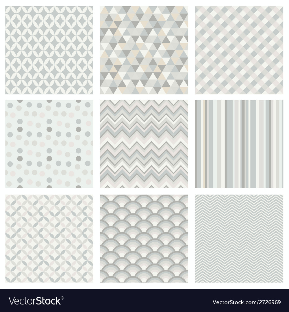 Seamless subtle geometric hipster background set vector | Price: 1 Credit (USD $1)
