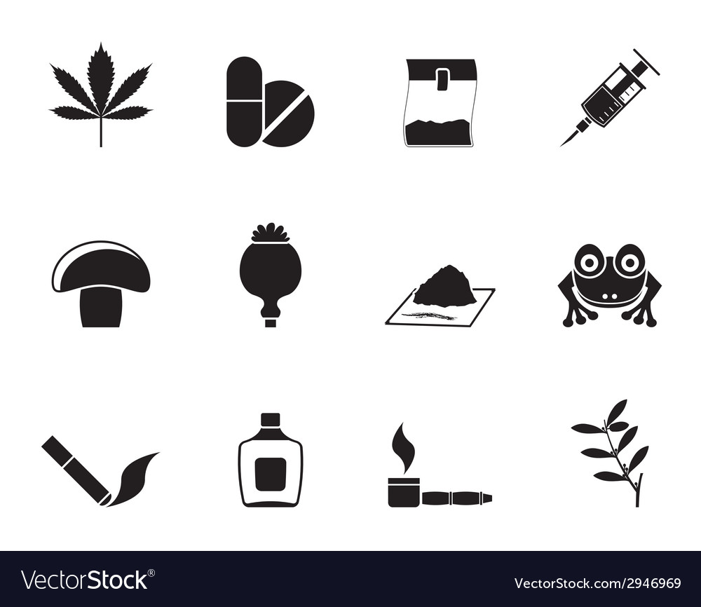Silhouette different kind of drug icons vector | Price: 1 Credit (USD $1)