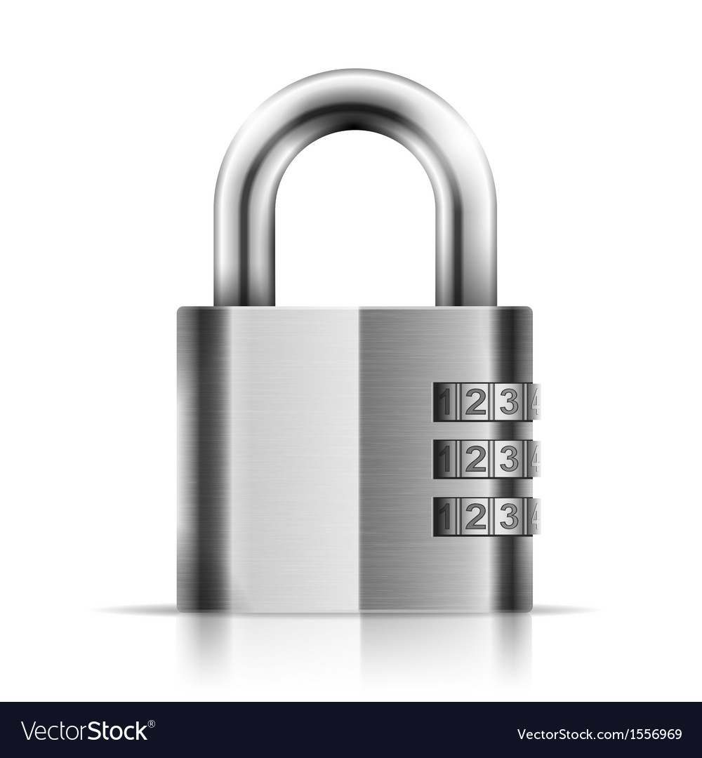 Steel closed isolated padlock vector | Price: 1 Credit (USD $1)